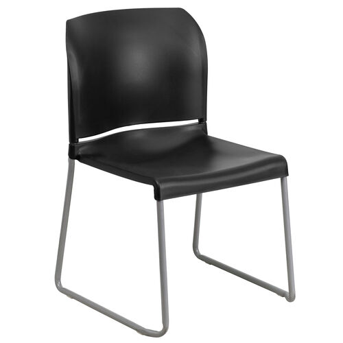 Our HERCULES Series 880 lb. Capacity Black Full Back Contoured Stack Chair with Gray Powder Coated Sled Base is on sale now.