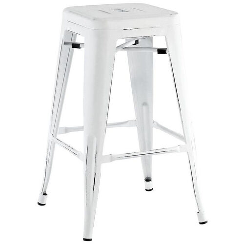 Our Dreux Vintage Matte White with Black Distressed Stackable Steel Backless Counter Stool - Set of 4 is on sale now.