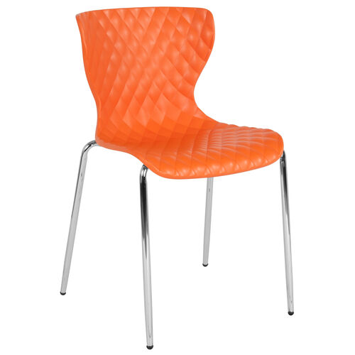 Our Lowell Contemporary Design Orange Plastic Stack Chair is on sale now.