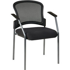 Pro-Line II Titanium Finish Visitors Stack Chair with Mesh Back and Padded Fabric Seat - Black