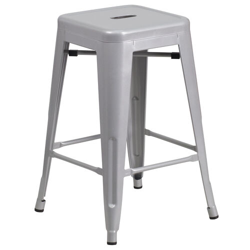 """Our Commercial Grade 24"""" High Backless Silver Metal Indoor-Outdoor Counter Height Stool with Square Seat is on sale now."""