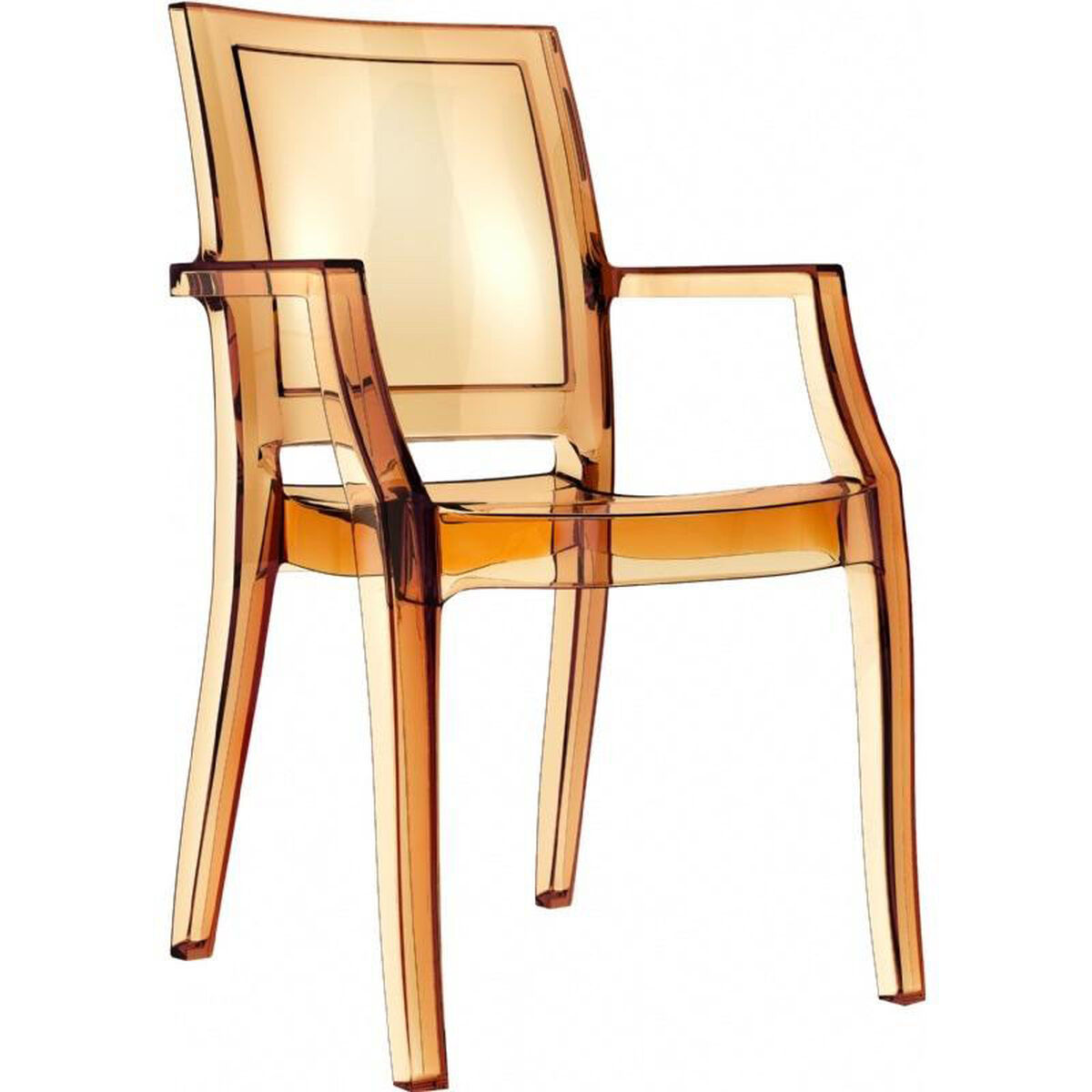 Our Arthur Polycarbonate Modern Stackable Dining Arm Chair Transpa Amber Is On Now
