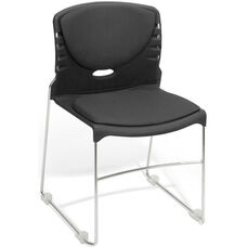 300 lb. Capacity Stack Chair with Fabric Seat and Back - Black
