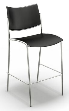 Escalate Stool with Plastic Seat - Black