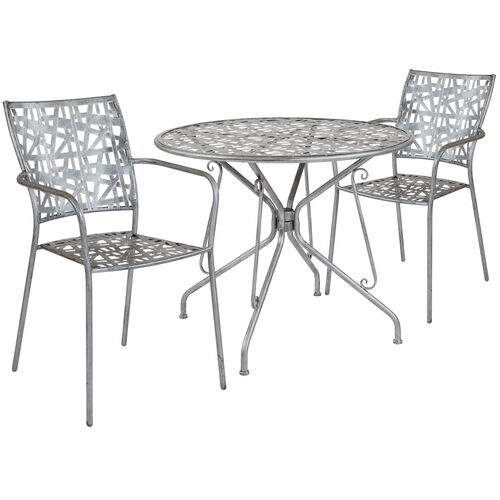 "Our Agostina Series 35.25"" Round Antique Silver Indoor-Outdoor Steel Patio Table with 2 Stack Chairs is on sale now."
