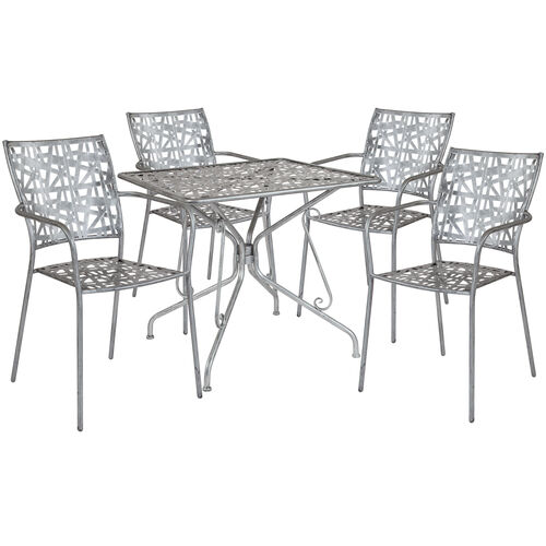 "Our Agostina Series 31.5"" Square Antique Silver Indoor-Outdoor Steel Patio Table with 4 Stack Chairs is on sale now."