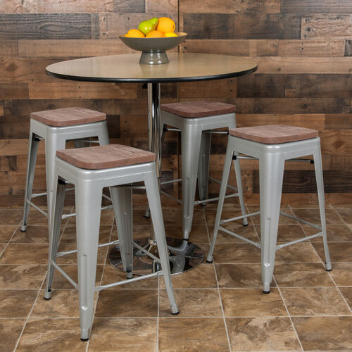 """24"""" High Metal Counter-Height, Indoor Bar Stool with Wood Seat in Silver - Stackable Set of 4"""