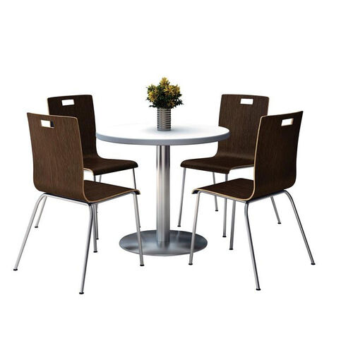 Round Laminate Table Set with Espresso Finish Bentwood Cafe Chairs - Seats 4