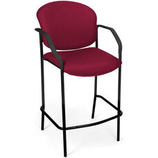 Manor Cafe Height Fabric Chair with Arms - Wine
