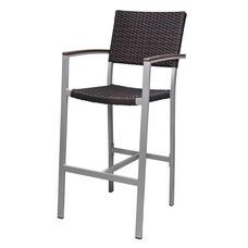 Fiji Dining Bar Arm Chair with Powder Coated Aluminum Frame - Espresso