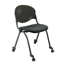 Quick Ship 2000 Series Stacking Multipurpose Steel Frame Polypropylene Chair with Upholstered Seat and Casters - Black