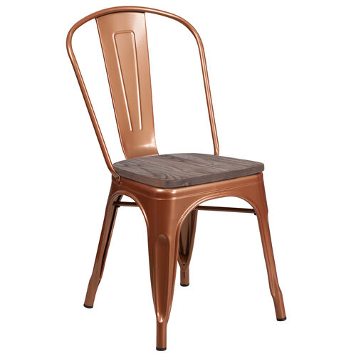 Our Copper Metal Stackable Chair with Wood Seat is on sale now.