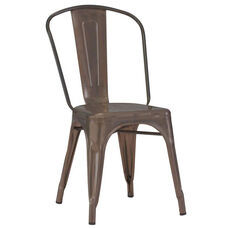 Dreux Stackable Rustic Matte Steel Side Chair - Set of 4