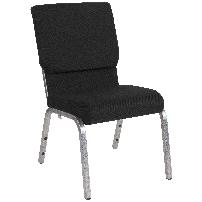 Flash Furniture HERCULES Series 18.5u0027u0027W Stacking Church Chair In Black  Fabric   Silver Vein Frame XU CH 60096 BK SV GG | StackChairs4Less.com