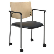 1300 Series Stacking Guest Armchair with Natural Wood Back and Casters - Vinyl Seat
