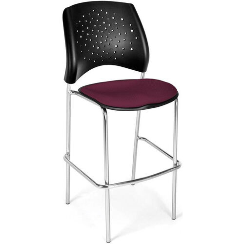 Our Stars Cafe Height Chair with Fabric Seat and Chrome Frame - Burgundy is on sale now.