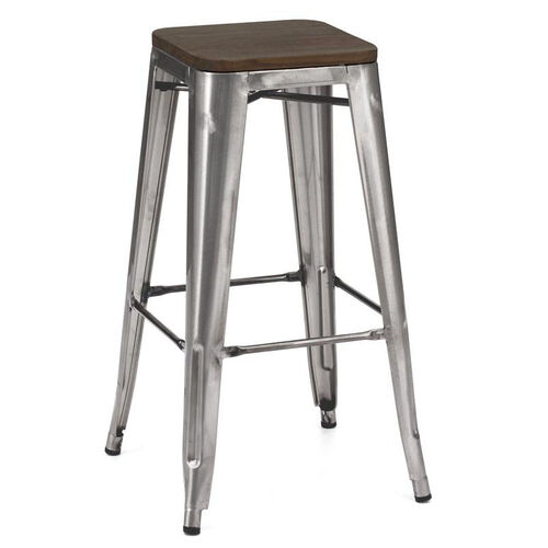 Our Dreux Clear Gunmetal Stackable Steel Barstool with Dark Elm Wood Seat - Set of 4 is on sale now.