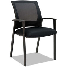 Alera® ES Series Black Mesh Stacking Arm Chairs with Plastic Arms and Steel Frame - Set of Two - Black Frame