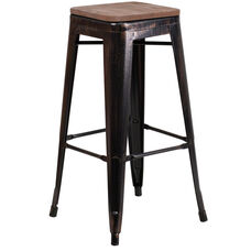"""30"""" High Backless Black-Antique Gold Metal Barstool with Square Wood Seat"""