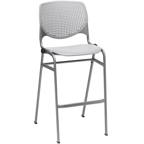 Our 2300 KOOL Series Stacking Poly Armless Barstool with Perforated Back and Silver Frame - Light Grey is on sale now.