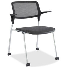 Lorell Black Mesh Back Stacking Guest Armchair with Black Plastic Seat and Castors - Set of 2