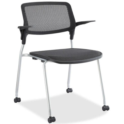 Our Lorell Black Mesh Back Stacking Guest Armchair with Black Plastic Seat and Castors - Set of 2 is on sale now.