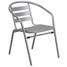 Silver Metal Restaurant Stack Chair with Aluminum Slats
