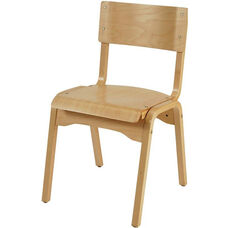 1100 Series Stacking Hardwood Armless Cafe Chair with Waterfall Seat - Natural