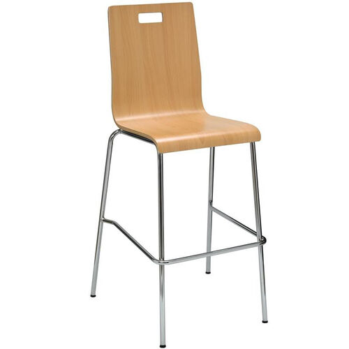 Our JIVE Series Stacking Bentwood Armless Cafe Barstool with HPL Surface and Silver Steel Frame - Natural is on sale now.