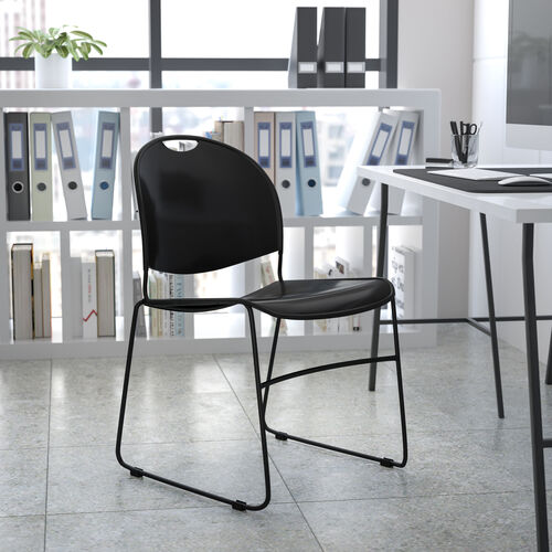 HERCULES Series 880 lb. Capacity Black Ultra-Compact Stack Chair with Black Powder Coated Frame