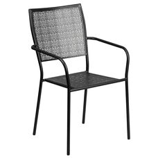 Commercial Grade Black Indoor-Outdoor Steel Patio Arm Chair with Square Back