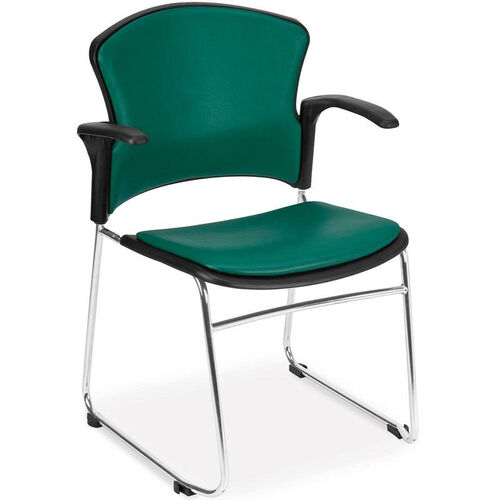 Our Multi-Use Stack Chair with Anti-Microbial and Anti-Bacterial Vinyl Seat and Back with Arms - Teal is on sale now.