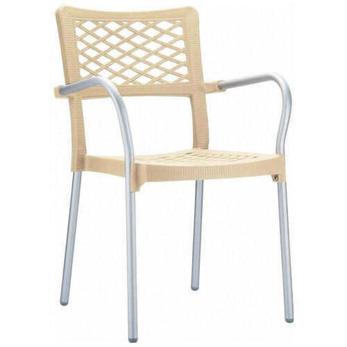 Our Bella Resin Stackable Dining Arm Chair with Aluminum Frame is on sale now.