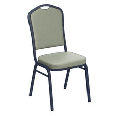 E-Z Wallaby Grey Vinyl Upholstered Crown Back Banquet Chair - Silver Vein Frame