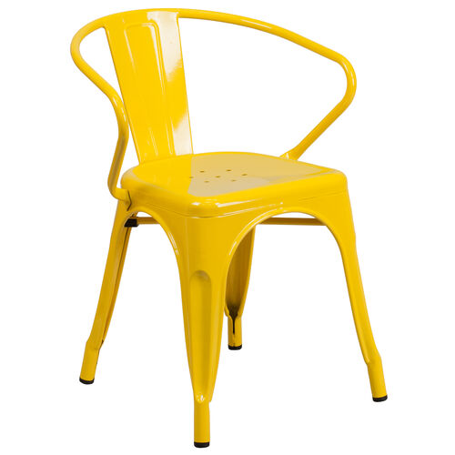 Our Commercial Grade Yellow Metal Indoor-Outdoor Chair with Arms is on sale now.