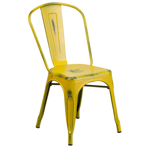 Our Distressed Yellow Metal Indoor-Outdoor Stackable Chair is on sale now.