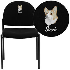 Embroidered Comfort Black Fabric Stackable Steel Side Reception Chair