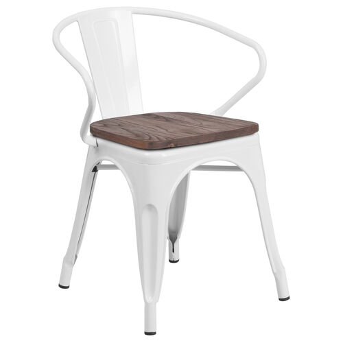 Our White Metal Chair with Wood Seat and Arms is on sale now.