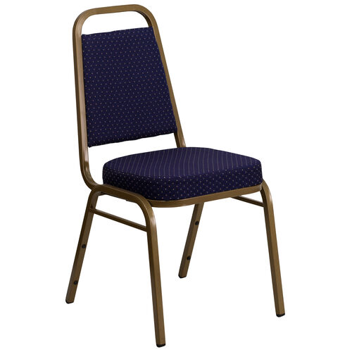 Our HERCULES Series Trapezoidal Back Stacking Banquet Chair in Navy Patterned Fabric - Gold Frame is on sale now.