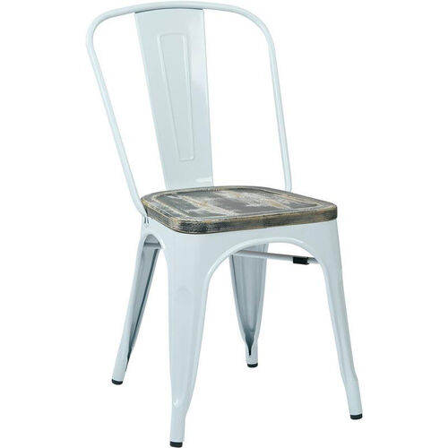 OSP Designs Bristow Metal Chair with Wood Seat - 4-Pack - White
