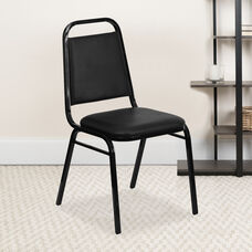 4 Pack HERCULES Series Trapezoidal Back Stacking Banquet Chair in Black Vinyl - Black Frame