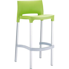 Domenica Lightweight Stackable Barstool with Matte Aluminum Legs - Green