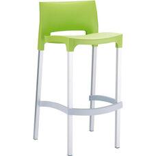 Domenica Lightweight Stackable Barstool with Matte Aluminum Legs - Green