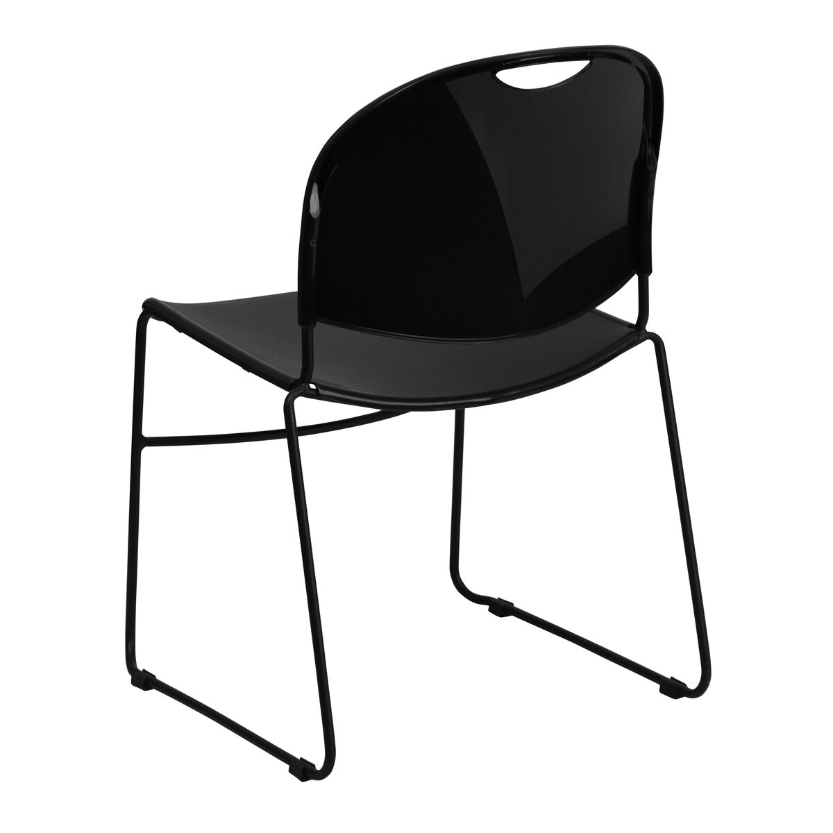 Black Stack Chair-Black Frame RUT-188-BK-GG | StackChairs4Less.com
