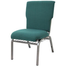 Auditorium Steel Frame Fabric Upholstered Stacking Chair - Forest Green