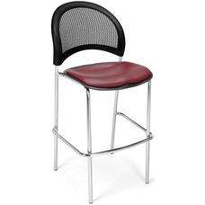 Moon Cafe Height Chair with Vinyl Seat and Chrome Frame - Wine