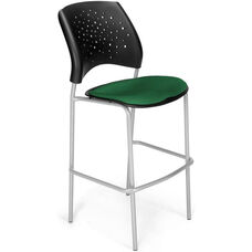 Stars Cafe Height Chair with Fabric Seat and Silver Frame - Forest Green