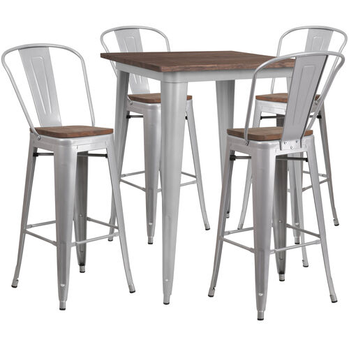 """Our 31.5"""" Square Silver Metal Bar Table Set with Wood Top and 4 Stools is on sale now."""