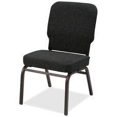 Lorell Black Fabric Oversize Stacking Chair with 500lb Capacity - Set of 2