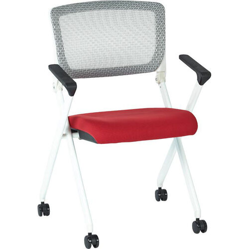 Our Space Pulsar Folding Chair with Breathable Mesh Back and Fabric Seat - Set of 2 - Rouge is on sale now.